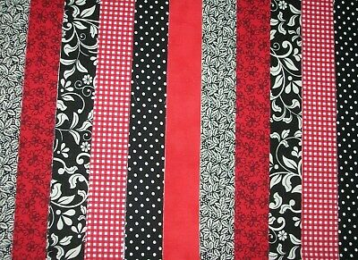 """**Clearance**12 Jelly Roll Strips Red & Black  44"""" X 2.5""""  100% Cotton  Clg"""