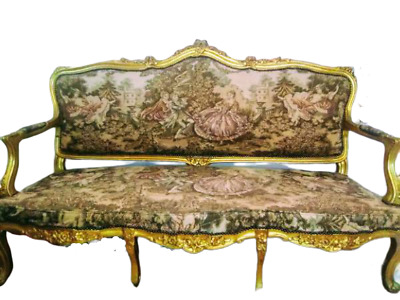 Louis XV Giltwood Settee-Canape w/ French Aubusson Tapestry, Matching Arm Chair