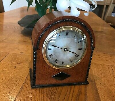 8 Day Small Vintage Mantle Clock in Oak and Ebony.