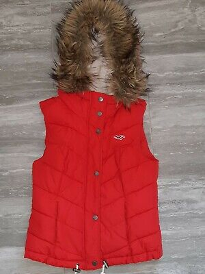 Ladies girls Hollister Red Gilet Hooded Faux Fur Size XS