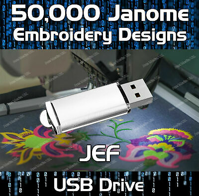 50,000 Janome, New Home Embroidery Designs Pattern files JEF on USB