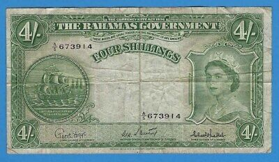 1953 Bahamas Government Elizabeth II 4 Four Shillings Note World Currency