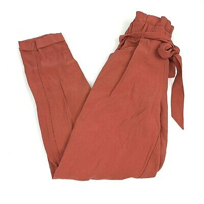 Zara XS High Waisted Belted Pants Rustic Orange Paper Bag Trousers Ankle Crop