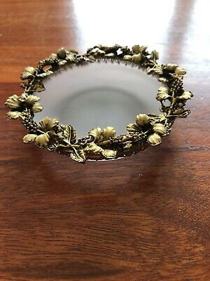 Antique Frosted Glass Trinket Dish Trimmed In Gold Leaves And Berries