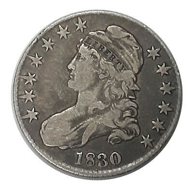 1830 United States Capped Bust Half Dollar 50c 90% Fine Silver Coin