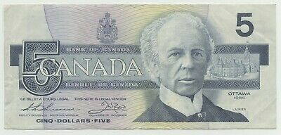 Canada 1986 $5.00  BC-56bA Thiessen-Crow ENX5380509 replacement note