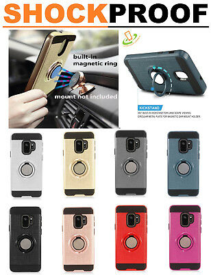 Samsung Galaxy A01 HYBRID Armor Ring Stand Case Rubber Rugged Shockproof Cover