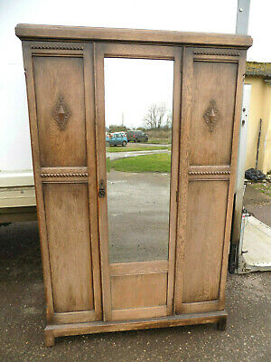 vintage,1930's,panelled,oak,wardrobe,hanging rails,shelf,bedroom,mirrored door