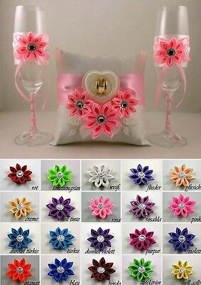 Champagne Glasses + Ringpillow with Name and Date Colour Selection Set &