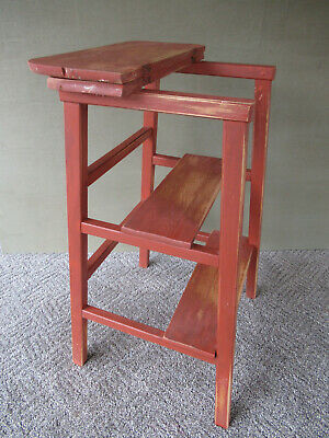 Antique 3-Step Stepstool Ladder Red Paint Folding Top, PARIS MFG CO, ME, Vintage