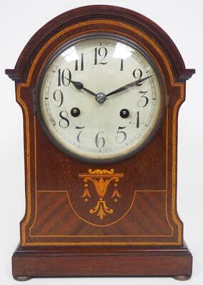 Good Antique Mahogany Mantel Clock 8 Day Striking Mantle Clock Inlaid Case C1900