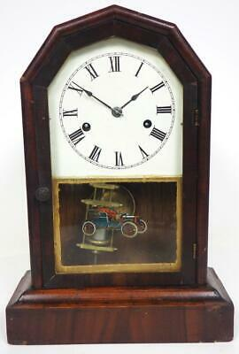 Junghans Shelf Clock Large Glass Panel Mantel Clock C1890 Cottage Mantle Clock