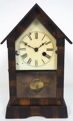 PHS Shelf Clock Large Glass Panel Mantel Clock C1890 Cottage Pitch Mantle Clock