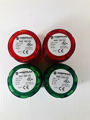 Werma Red and Green Stack Light 846 100 00 Lot of 4