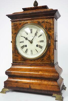 Antique Burr Walnut Mantel Clock 8Day Striking Black Forest Bracket Clock C1900