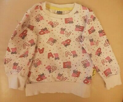 Peppa Pig Jumper Age 2 To 3 Years Girls Kids White Pink