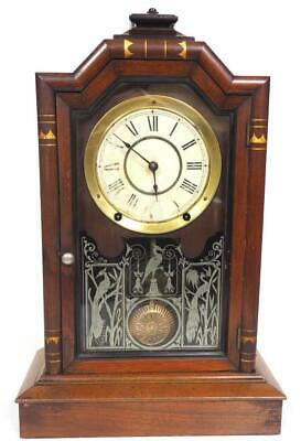 Ansonia Antique Mahogany Glazed Mantel Clock 8 Day Striking Mantle Clock C1900