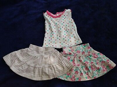 Girls 12-18 Months Bundle T-shirt Skirts outfit Floral Dots Striped Next Day