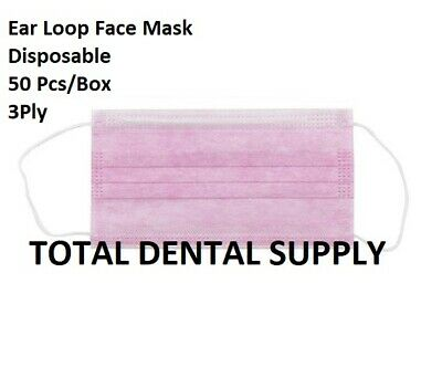 50 Ear Loop FACE MASK Dental Surgical Medical Spa Tattoo Vet Hygienist PINK