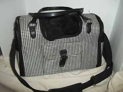 Black Check pattern with Black accents Pet Carrier Minor wear GC overall
