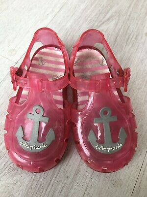 TUTTO PICCOLO Italian Designer Baby Girls Pink Jelly Sandals, Size 7 Infant