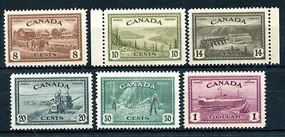Weeda Canada 268-273 VF MNH 1946 Peace Issue set of 6 CV $127.50