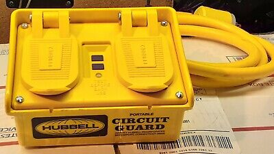 Hubbell GFP15M Portable GFCI w/ Cord, 120VAC, 15 Amp 4 Outlet Circuit Guard
