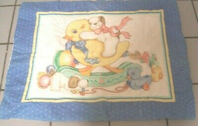 Handmade Baby Fabrc Panel Quilt Duck Rocking Toys Vintage