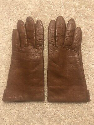 Fownes Brown Leather Gloves - Women's Size 6.5 - 100% Acrylic Lining