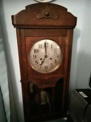 (1391) BROWN WOODEN GLASS FRONTED LONG CASE WALL CLOCK  MADE IN VIENNA I(1930s)