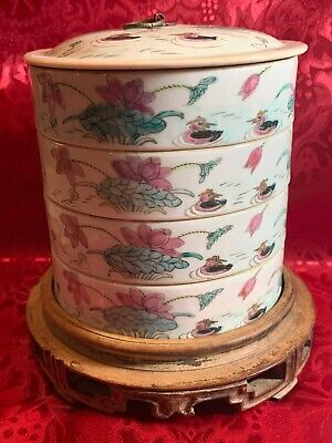 4 Antique Chinese Hand-Painted Rice Bowl, Stackable Wood- Famille Rose Signed