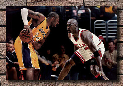 Art Fabric Poster Kobe Bryant VS Michael Jordan Basketball MVP Wall Decor