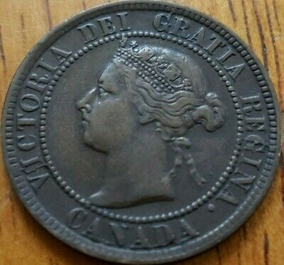 Canada 1894 One Cent F Multiple Die Crack OBV  Check It Out!!  KM# 7  #AA144-6