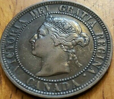 Canada 1888 One Cent F Die Crack OBV  Check It Out!!  KM# 7  #AA243-6