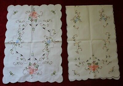 Vintage Embroidered Floral Table Runner & Centre Piece