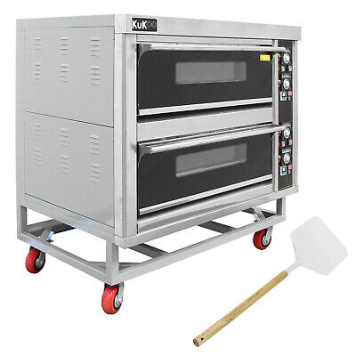 Commercial Pizza Baking Oven Large Twin Deck Single Phase Electric 12x10? 6.6kW