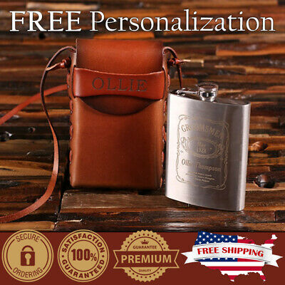 Personalised Custom Initials Name Entwined Hexagon 6oz PU Leather Hip Flask Tan