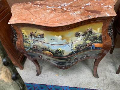 French Style Painted Mahogany Marble Top 3 Drawer Commode/Bombe With Ormolus