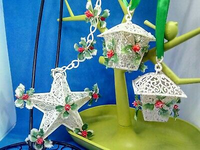 3 1960s filigree sleigh bells kitsch vintage Christmas  decorations  Ornament