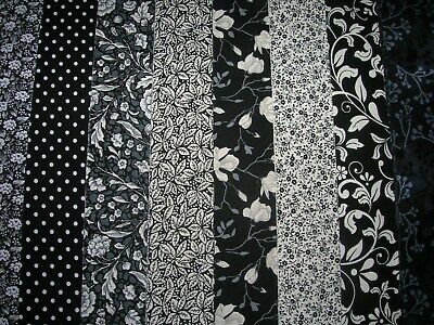 """**Clearance**8 Jelly Roll Strips Black&White  44"""" X 2.5""""  100% Cotton  Cln"""