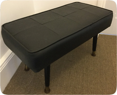 Vintage Foot Stool Pouffe - Black Leatherette - Removable Dansette Legs 1960's