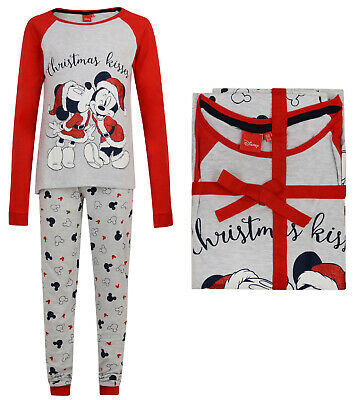 "Girls Christmas Pyjamas Disney Minnie Mouse Ex Uk Store ""Xmas Kisses"" 9-14Y New"