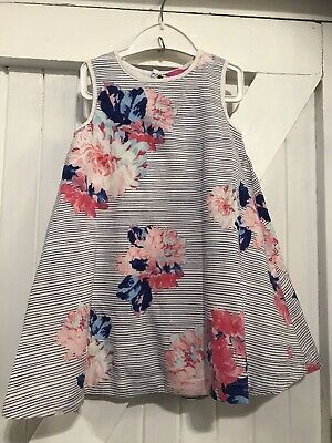 Girls Joules Age 2 Years Dress Junior Bunty Floral & Stripes Fully Lined Cotton