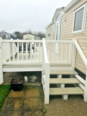 Upvc Wrap Around Static Caravan Decking  32 Ft By 8 Ft Secure Gated