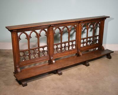 *7' Antique French Highly Carved Neo Gothic Oak Wood Church Railing/Kneeler