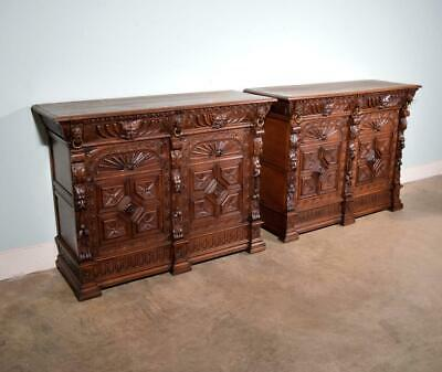 *Pair of Antique French Renaissance Revival Sideboards/Consoles/Oak Cabinets