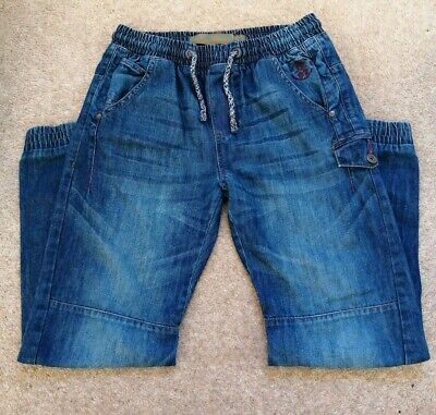 Next Boys Age 13 Denim Pull On Jeans Elasticated Waist Cuffed Ankle.