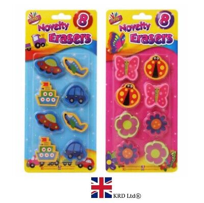 8Pcs Kids NOVELTY ERASERS Rubbers Toy Party Bag Fillers Birthday Gift TA4174 UK