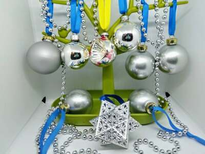 8 vintage silver glass baubles ornaments, star, Christmas decorations, retro