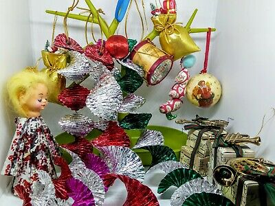 14 VINTAGE Christmas decorations, foil streamers, angel, baubles, ornaments